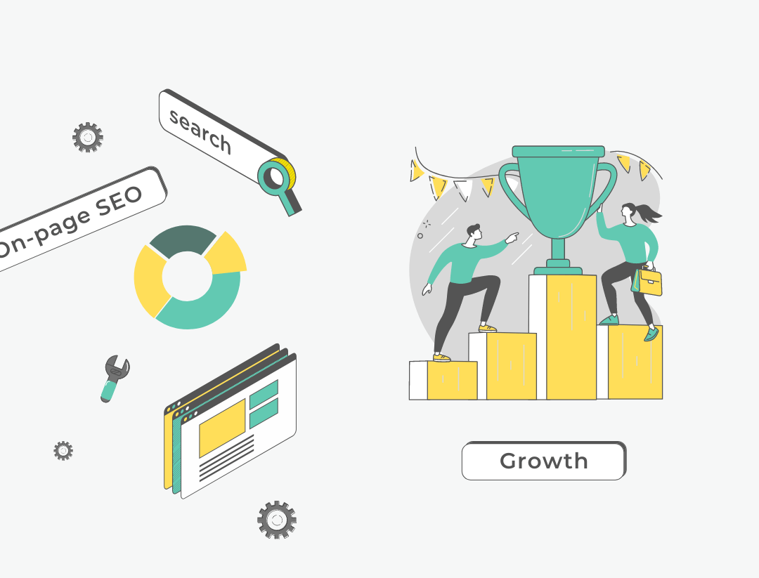 """illustration of 2 people reaching for an award on a graph and text that reads: """"On-page SEO, search, growth"""""""