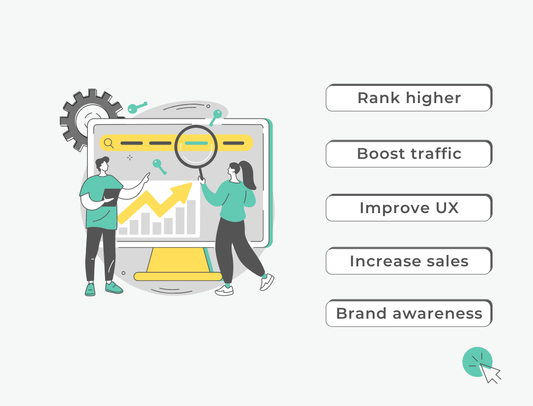 """illustration of 2 people presenting their online growth and text: """"Rank higher, boost traffic, improve UX, increase sales, brand awareness"""""""