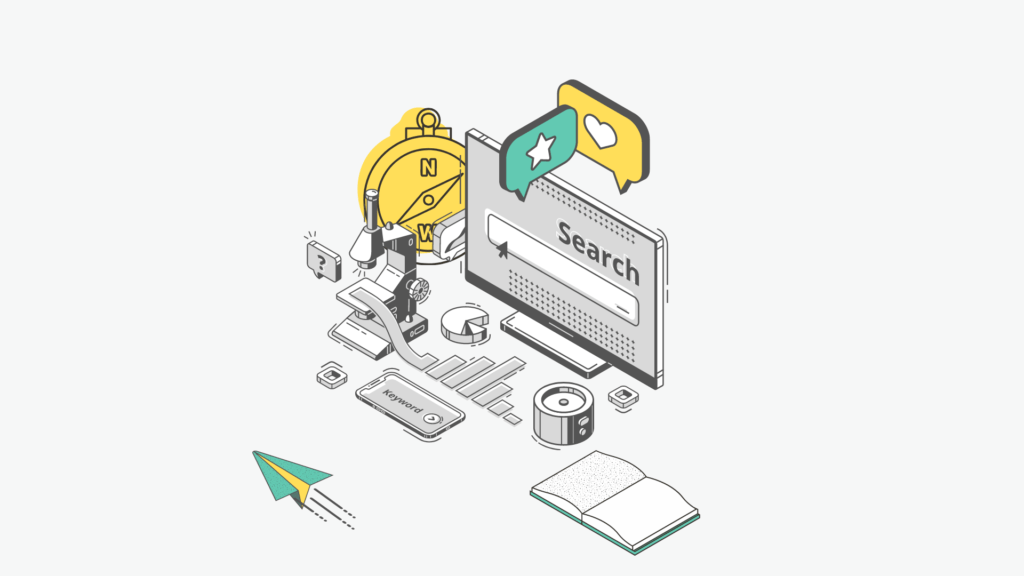 """illustration of a pc screen and scattered objects with the text """"Keyword research"""""""